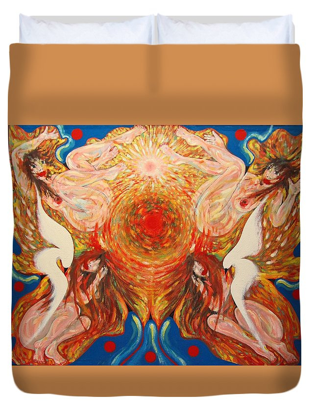 Imagination Duvet Cover featuring the painting Whirl by Wojtek Kowalski
