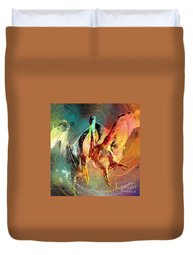 Miki Duvet Cover featuring the painting Whirled In Digital Rainbow by Miki De Goodaboom