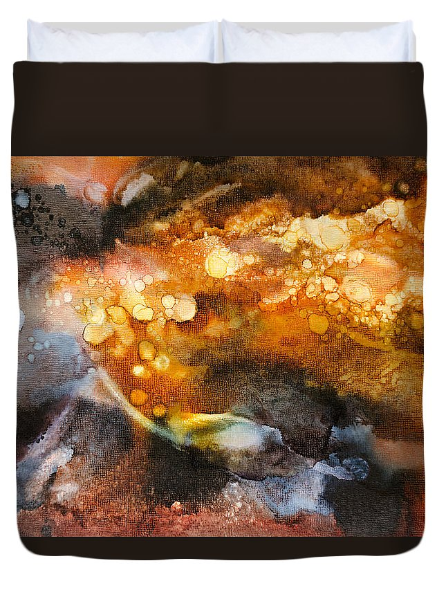 Abstract Duvet Cover featuring the painting Whirling Whisper - C - by Sandy Sandy