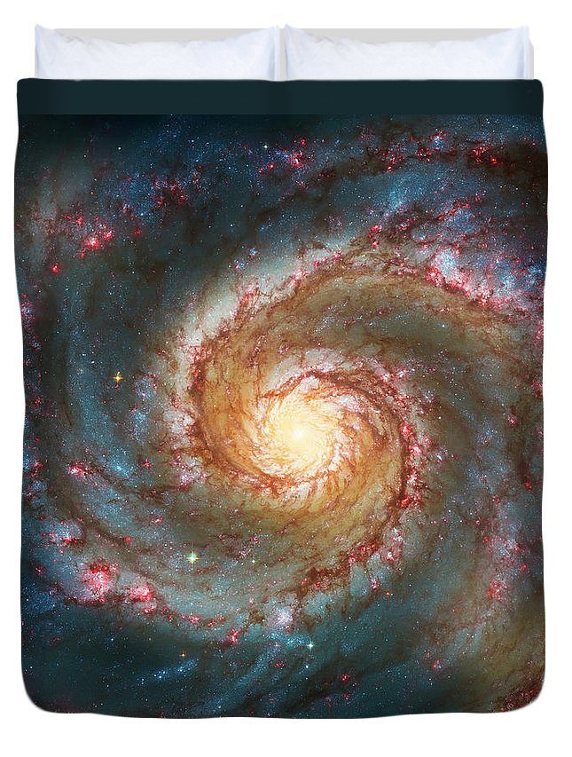 Space Duvet Cover featuring the photograph Whirlpool Galaxy by Jennifer Rondinelli Reilly - Fine Art Photography