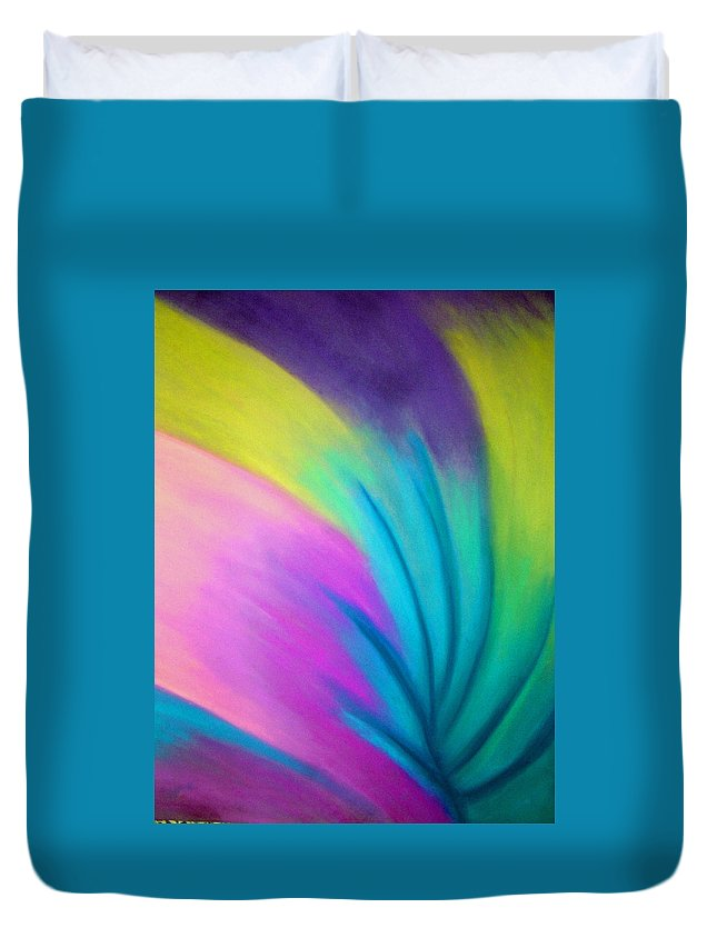 Pastel; Colors; Abstract Drawing Duvet Cover featuring the drawing Whirlwind by Jan Gilmore