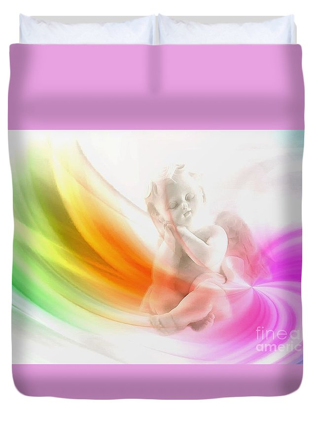 Angel Duvet Cover featuring the digital art Whisper 2015 by Kathryn Strick