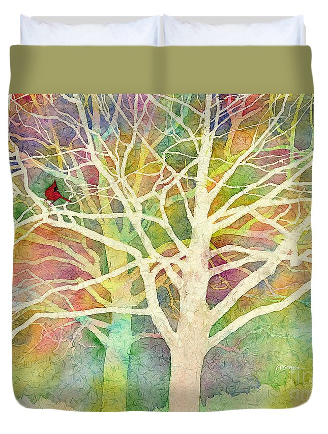 Cardinal Duvet Cover featuring the painting Whisper by Hailey E Herrera