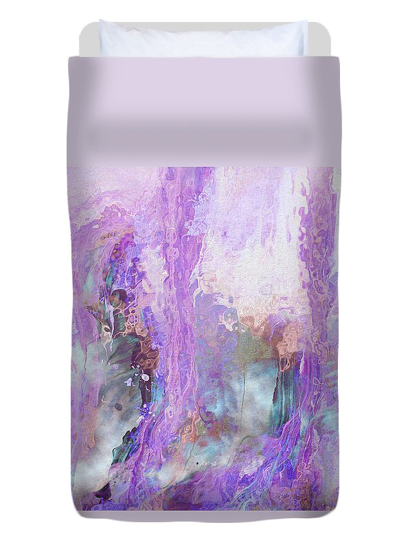 Abstract Art Duvet Cover featuring the digital art Whisper Softly by Linda Murphy