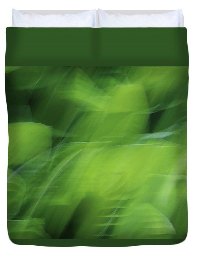 Whispering Hostas Duvet Cover featuring the photograph Whispering Hostas by Rachel Cohen