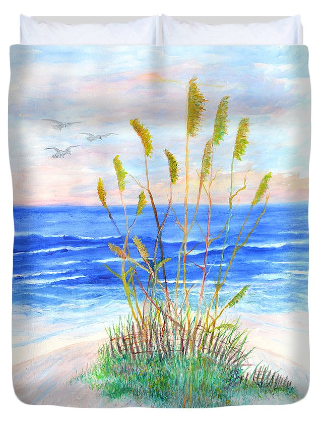 Sea Oats Duvet Cover featuring the painting Whispering Sea Oats by Ben Kiger