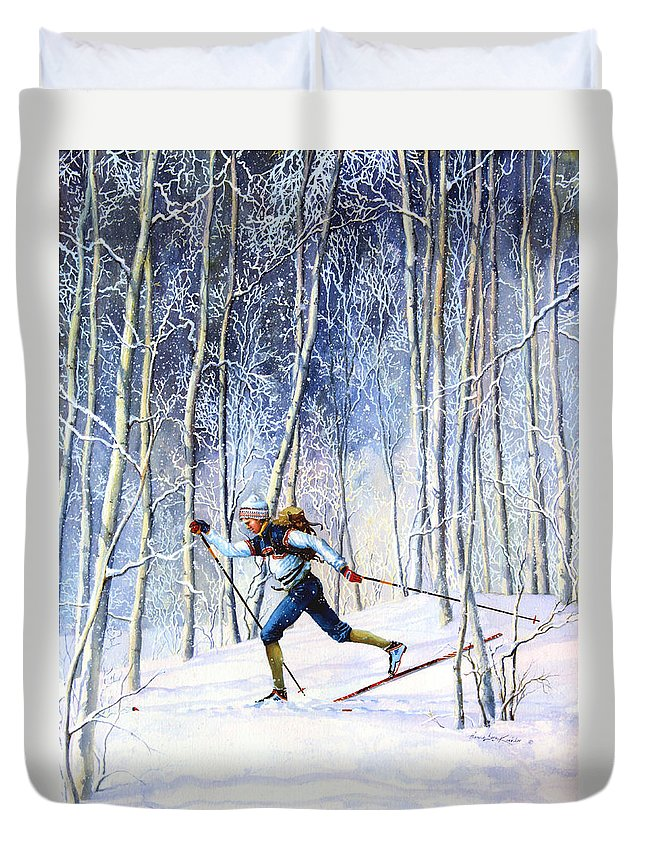 Sports Artist Duvet Cover featuring the painting Whispering Tracks by Hanne Lore Koehler