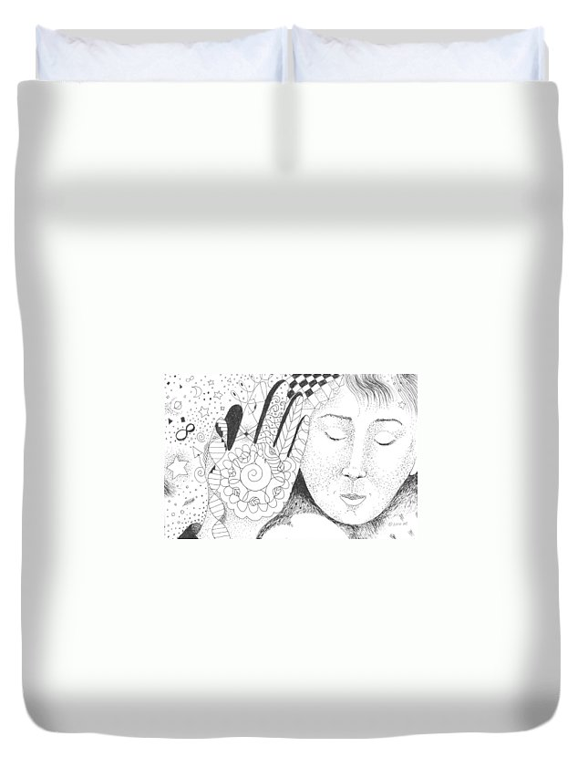 Hand Duvet Cover featuring the drawing Whispers by Helena Tiainen