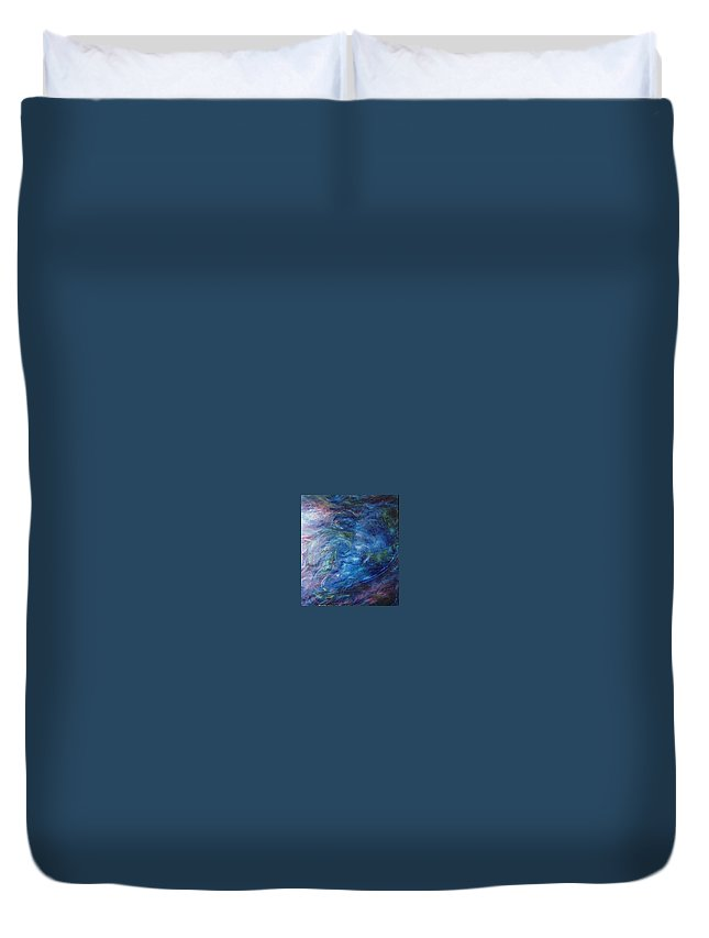 Abstract Duvet Cover featuring the painting Whispers In A Sea Of Blue by Nancy Mueller