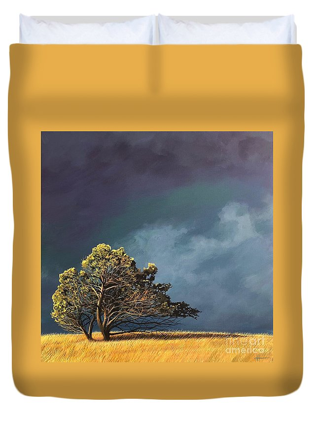 Landscape Duvet Cover featuring the painting Whistle Down The Wind by Hunter Jay