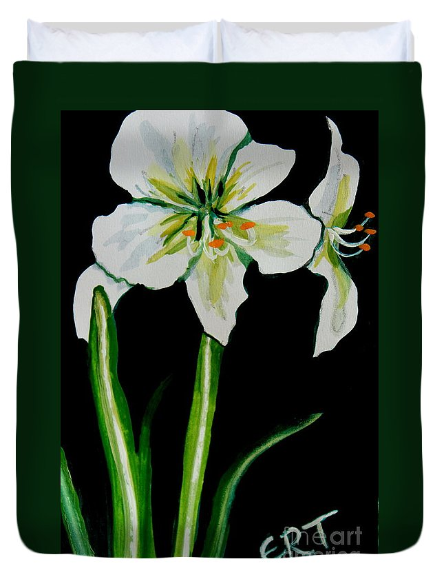 Black And White Duvet Cover featuring the painting White Amaryllis by Elizabeth Robinette Tyndall