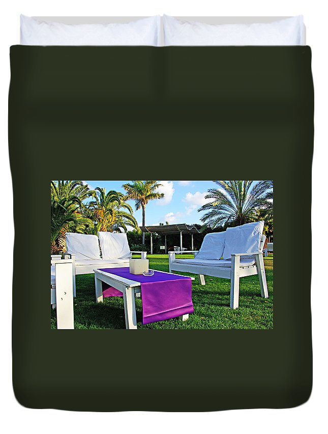 White Duvet Cover featuring the photograph White And Purple by Zal Latzkovich