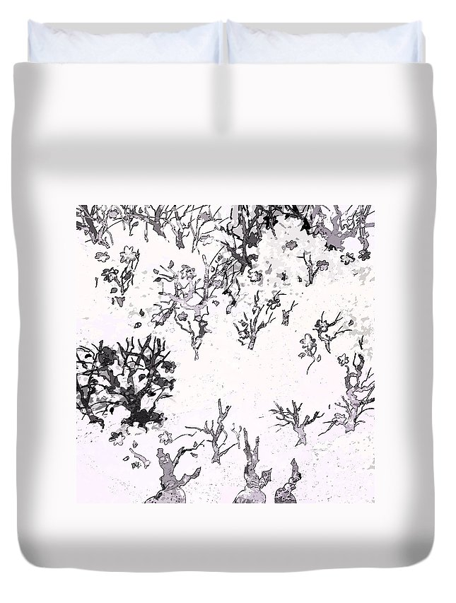 Abstract Duvet Cover featuring the digital art White As Snow by Rachel Christine Nowicki