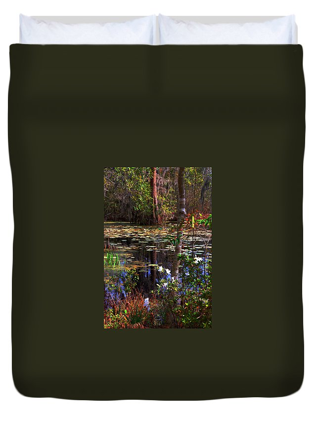 Swamp Duvet Cover featuring the photograph White Azaleas In The Swamp by Susanne Van Hulst