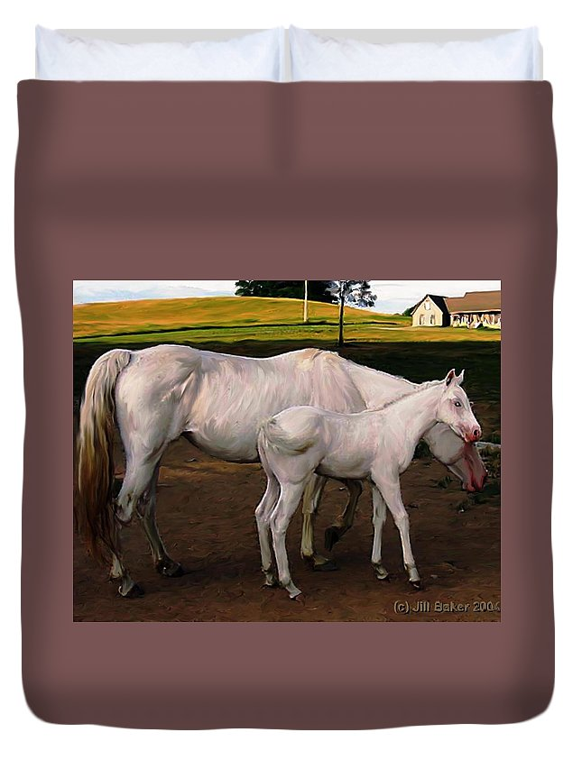 White Horses Duvet Cover featuring the painting White Baby Horse by Jill Baker