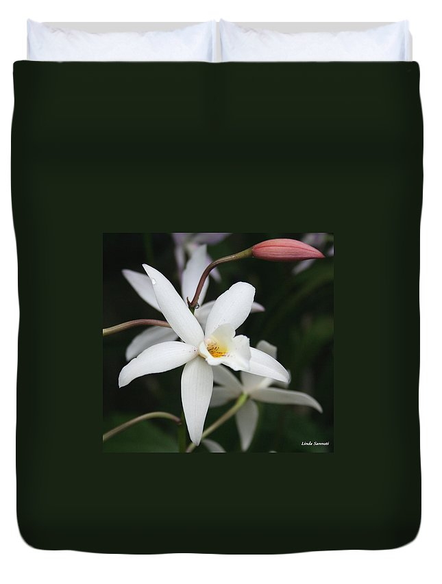 Flowers Nature White Macro Orchid Greenhouse Digital Photography Duvet Cover featuring the photograph White Beauty Dove by Linda Sannuti