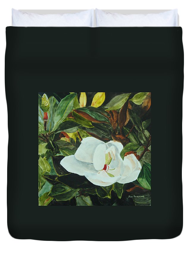 Flower Duvet Cover featuring the painting White Beauty by Jean Blackmer