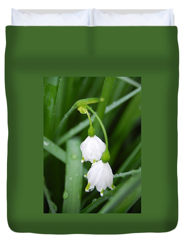 Flower Duvet Cover featuring the photograph White Bells Perspective by Amy Fose
