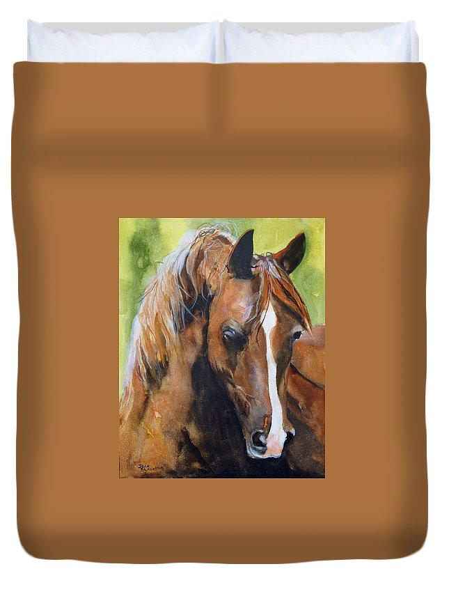 Horse Duvet Cover featuring the painting White Blaze by Jean Blackmer