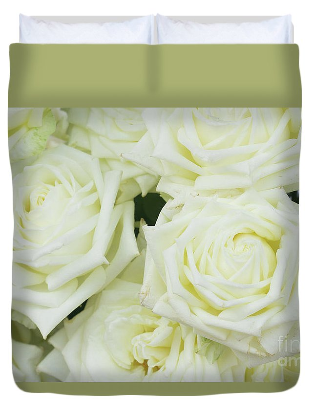 Rose Duvet Cover featuring the photograph White Blooming Roses by Anastasy Yarmolovich