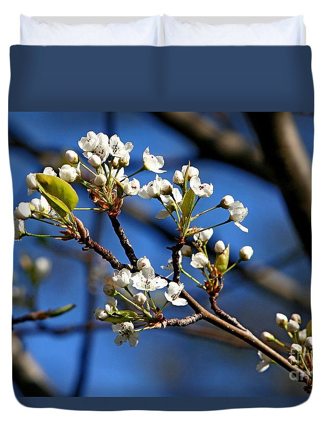 Nature Duvet Cover featuring the photograph White Blooms by Marle Nopardi