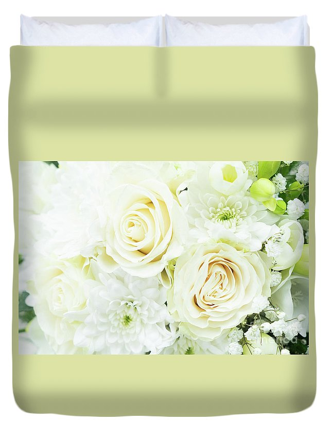 Roses Duvet Cover featuring the photograph White Bouquet by Anastasy Yarmolovich