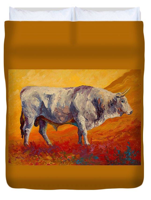 Cows Duvet Cover featuring the painting White Bull by Marion Rose