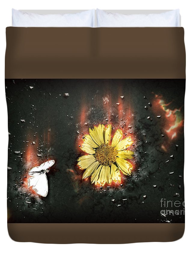 Digitally Duvet Cover featuring the photograph White Butterfly And Yellow Flower by Humorous Quotes