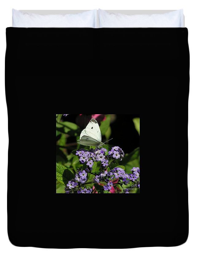 White Duvet Cover featuring the photograph White Butterfly by Louise Magno