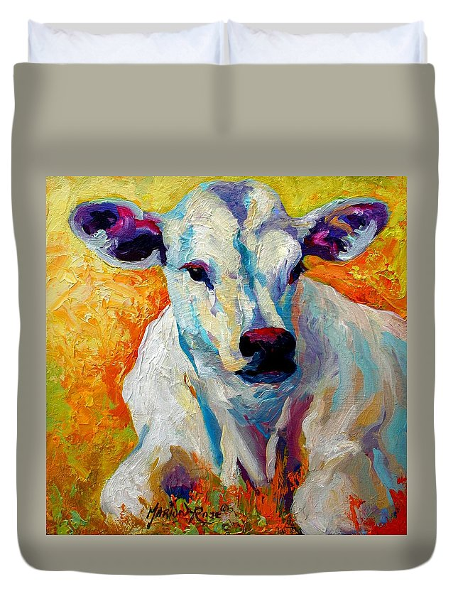 Western Duvet Cover featuring the painting White Calf by Marion Rose
