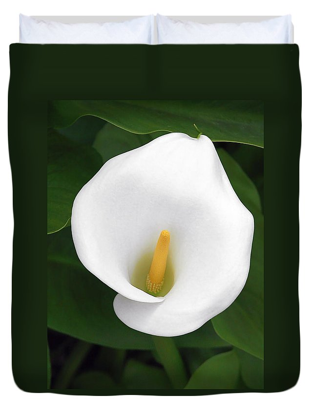 Flower Duvet Cover featuring the photograph White Calla Lily by Christine Till