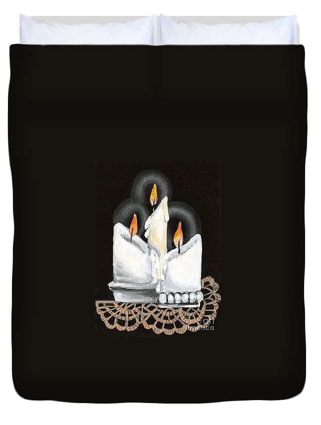 Candles Duvet Cover featuring the painting White Candle Trio by Elaine Hodges