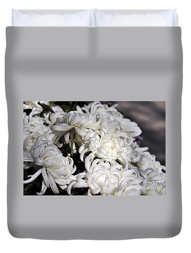 Clay Duvet Cover featuring the photograph White Chrysanthemum by Clayton Bruster