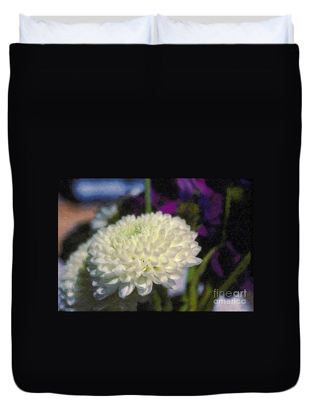 White Chrysanthemum Flower Beautiful Mum Duvet Cover featuring the photograph White Chrysanthemum Flower by David Zanzinger
