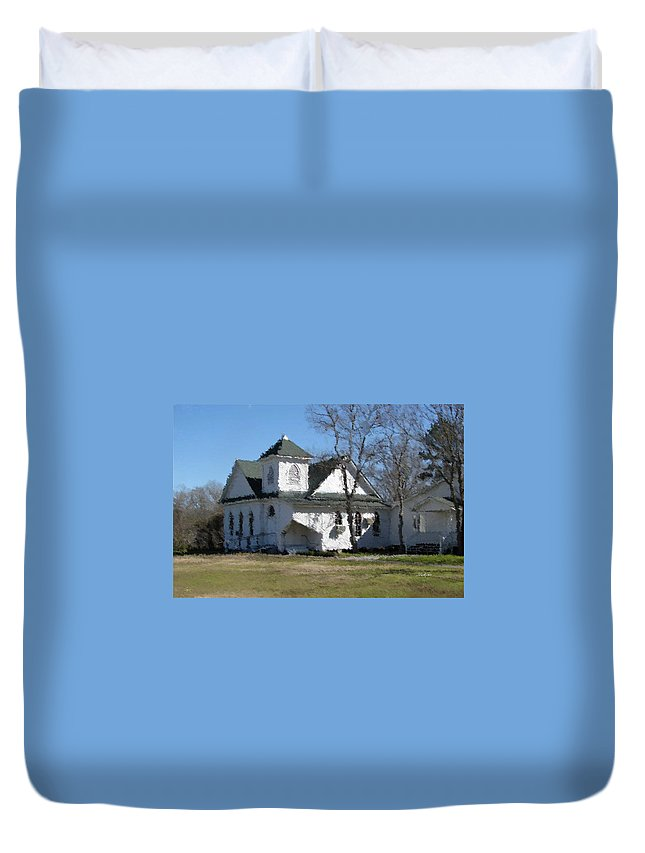White Duvet Cover featuring the photograph White Church Near The Lake by Russell Owens