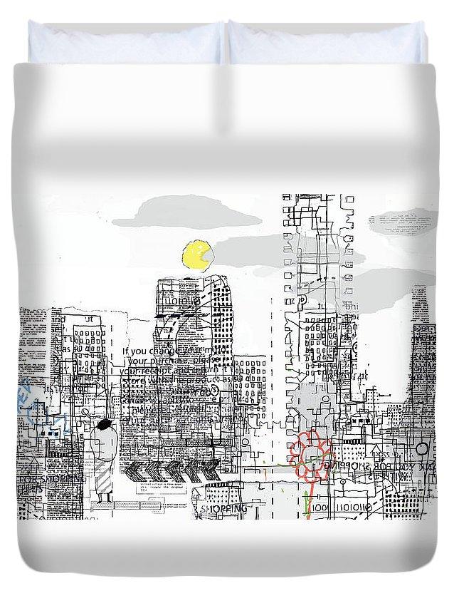 Line Duvet Cover featuring the digital art White City by Andy Mercer