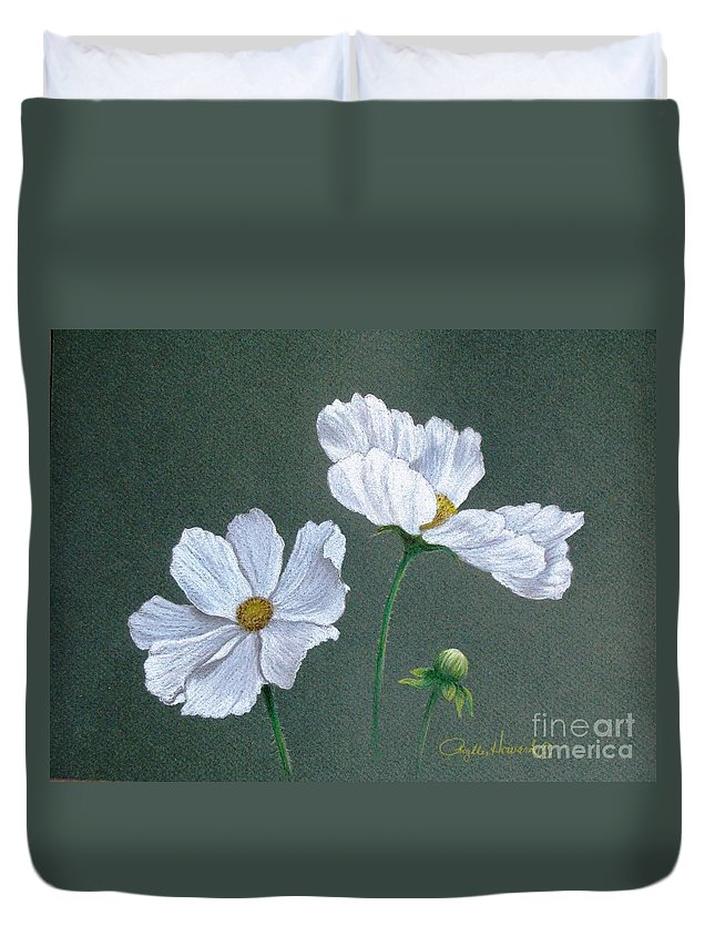 Phyllis Howard Duvet Cover featuring the drawing White Cosmos by Phyllis Howard