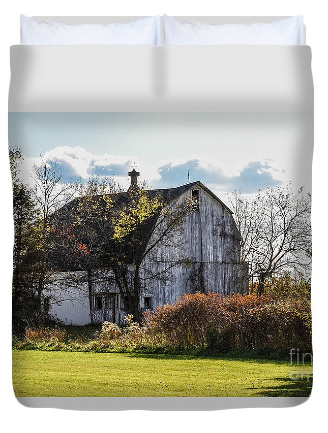 White Duvet Cover featuring the photograph White Country Barn by Grace Grogan