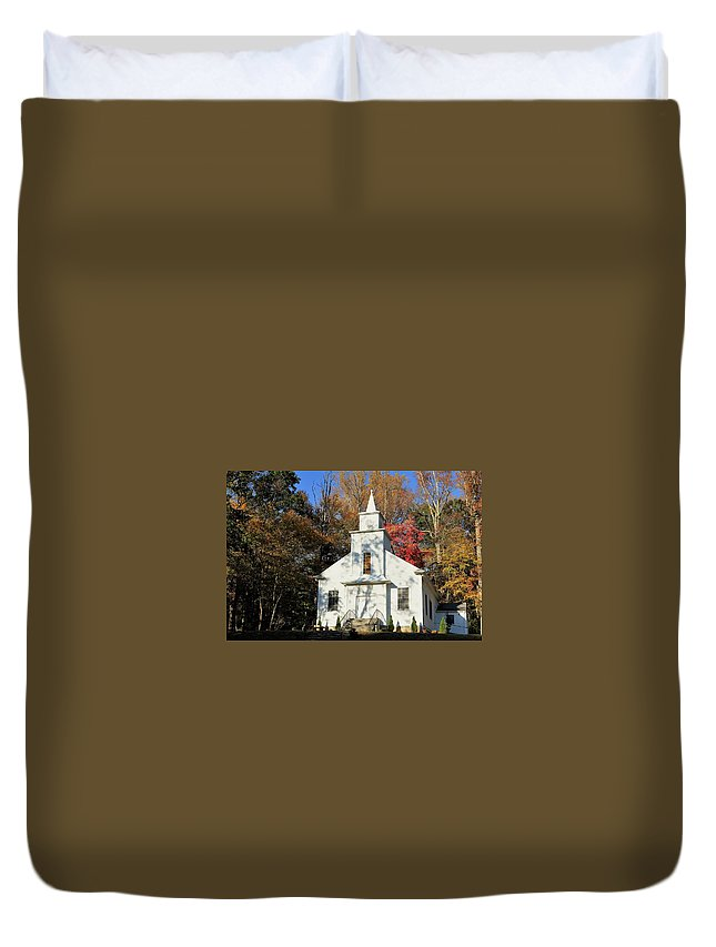 Country Duvet Cover featuring the photograph Little Country Church by Vice Photo