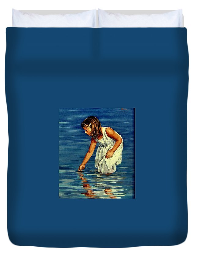 Girl Duvet Cover featuring the painting White Dress by Natalia Tejera