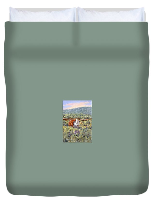 Hereford Bull Duvet Cover featuring the painting White Face Bull by Peggy Conyers