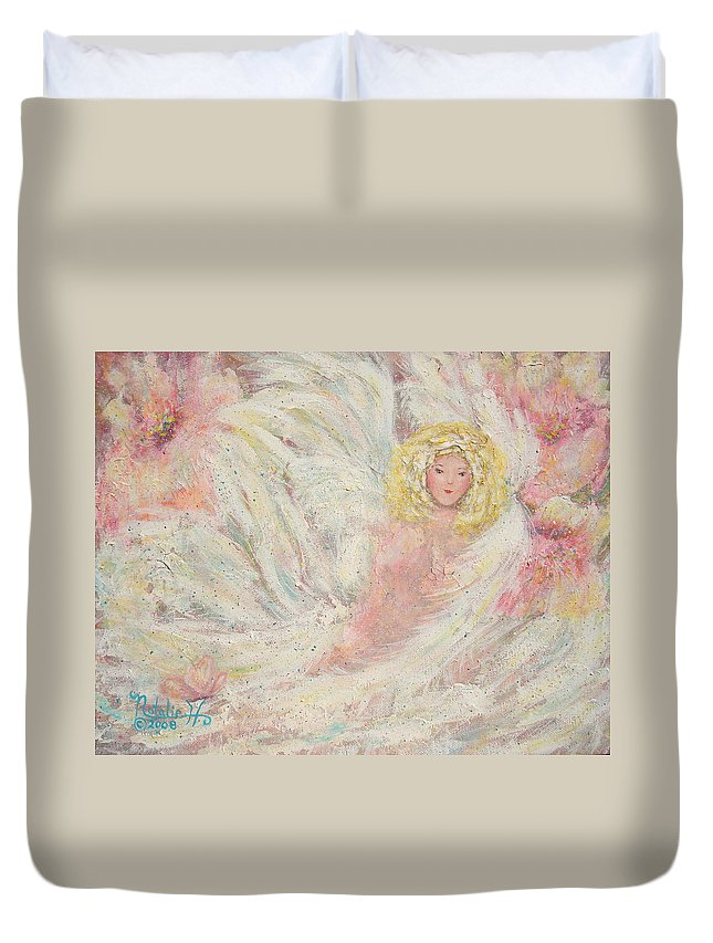 Angel Duvet Cover featuring the painting White Feathers Secret Garden Angel 4 by Natalie Holland
