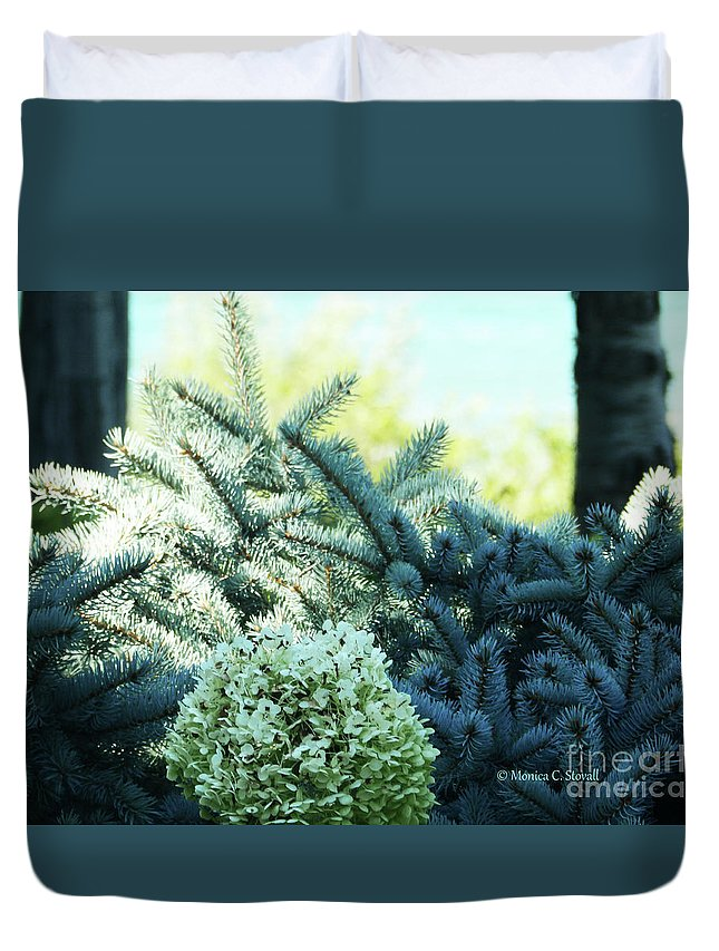 White Flowers Duvet Cover featuring the photograph White Flowers W15 by Monica C Stovall