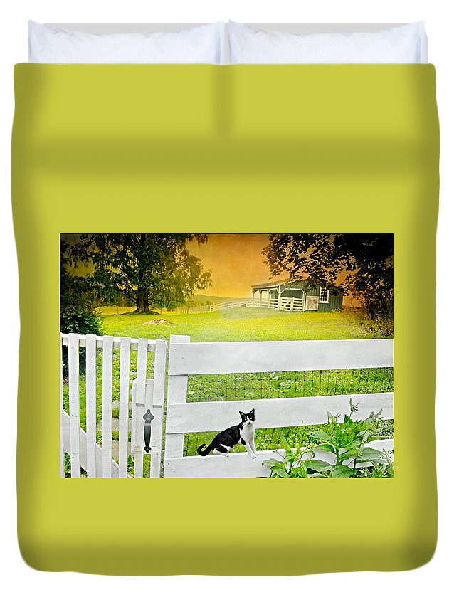 White Gate Cat Duvet Cover featuring the photograph White Gate Cat by Diana Angstadt