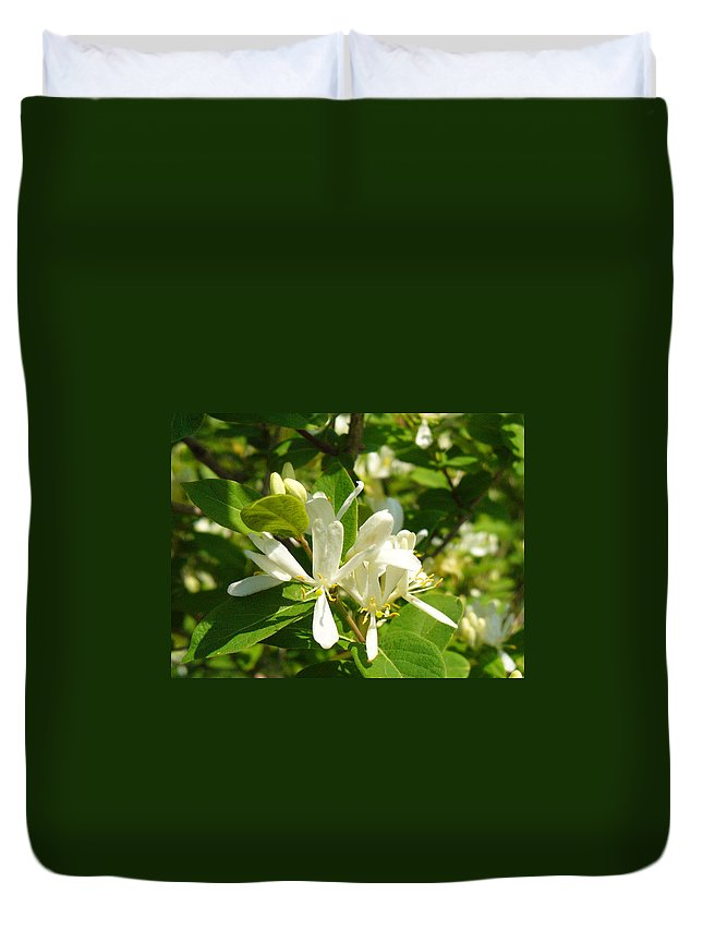 Nature Duvet Cover featuring the photograph White Honeysuckle Blossoms by Peggy King