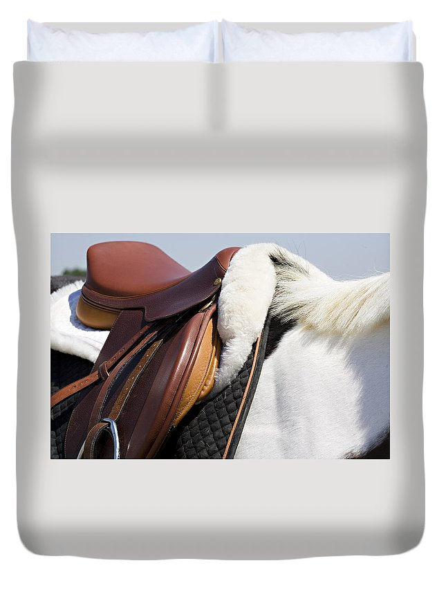 Horse Duvet Cover featuring the photograph White Horse And Saddle by Marilyn Hunt