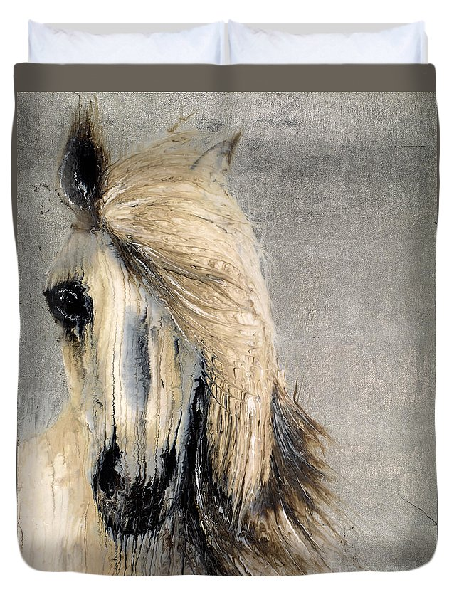 Horse Duvet Cover featuring the mixed media White Horse On Silver Leaf by Scott Lindner