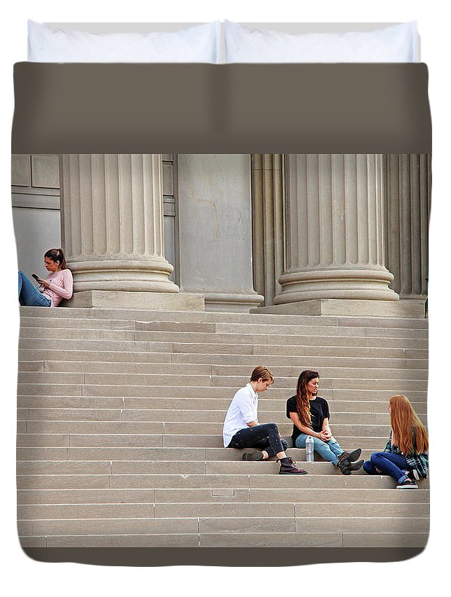 Steps Duvet Cover featuring the photograph Hanging Out On Steps by Cora Wandel