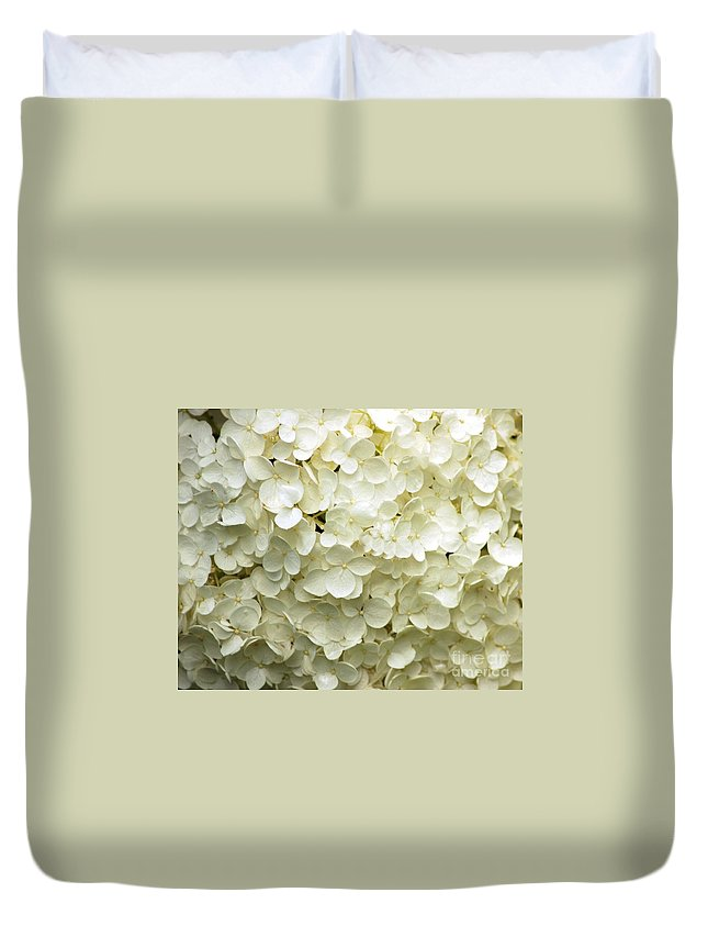 White Duvet Cover featuring the photograph White Hydrangea by Kathleen Struckle