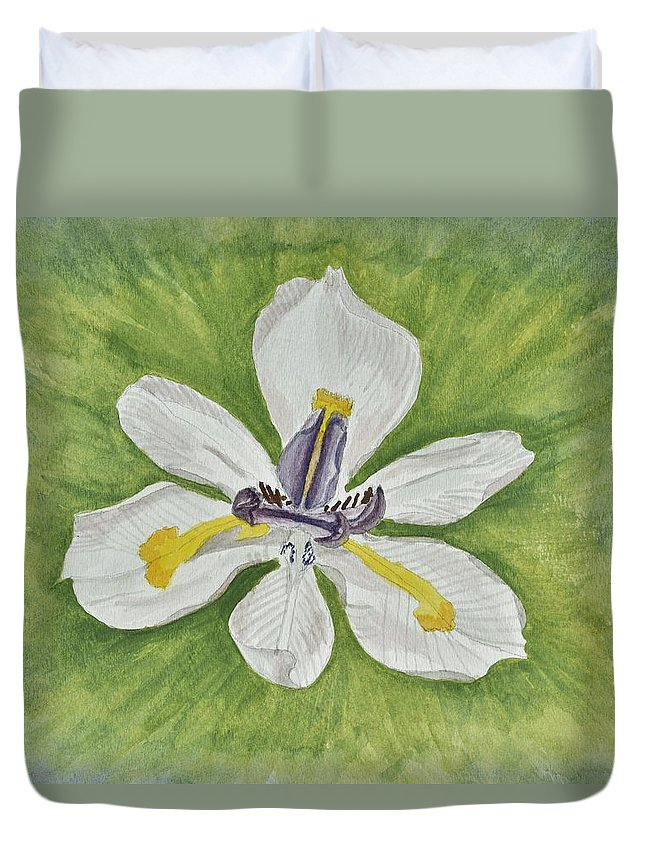 Linda Brody Duvet Cover featuring the painting White Iris by Linda Brody